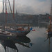 winter afternoon sun shines on yachts, reflects on water, Vieux Bassin (Old Port) Honfleur, Normandy, France