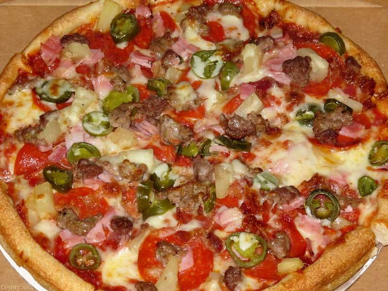 Hot sweet Meatlovers pizza