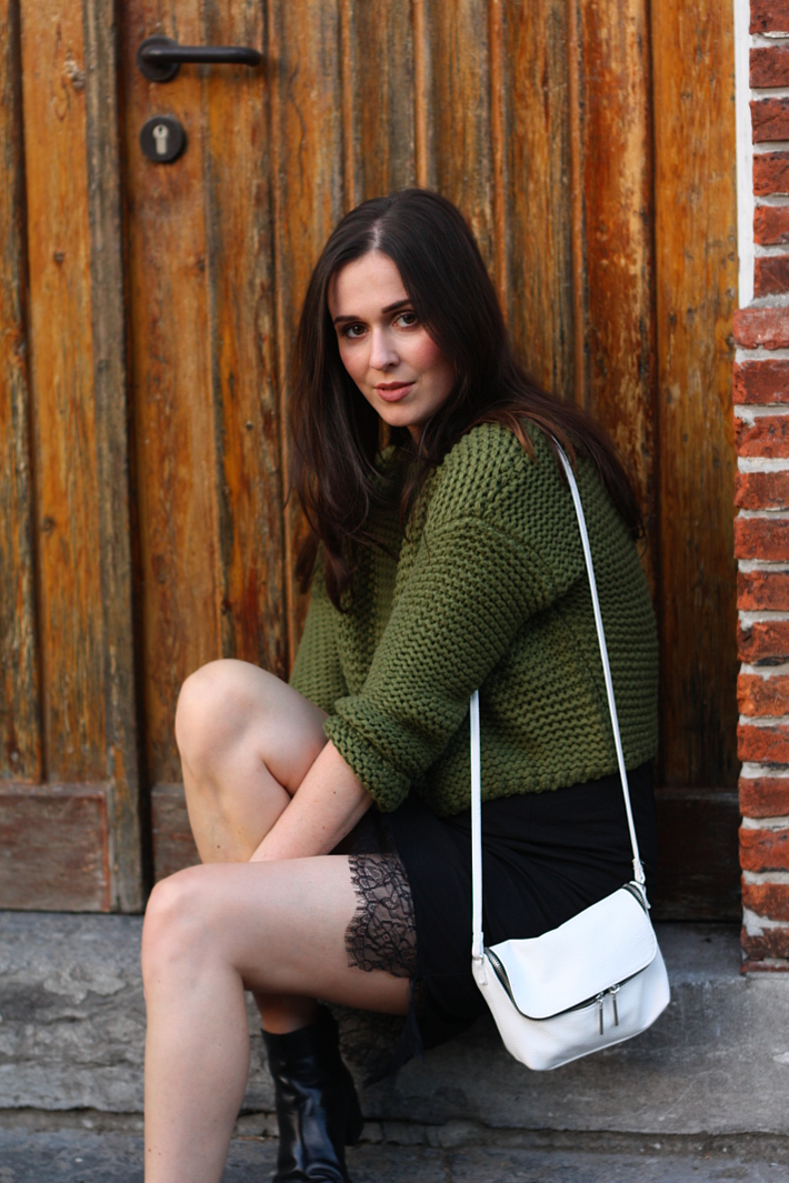 army green sweater lace slip dress white purse