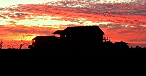 sunset house silhouette oakisland