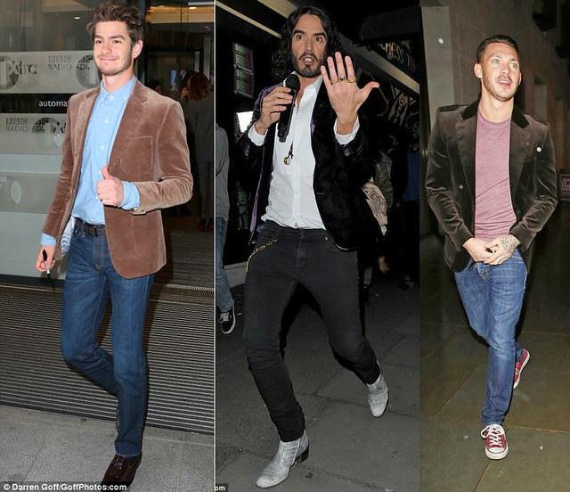 mens-velvet-jacket-blazer-with-jeans,brown tassel moccasin, Giorgio Armani velvet blazer, Giorgio Armani grey trousers, velvet jacket, Russell Brand in purple velvet, blue velvet suit jacket, blazer, purple velvet blazer