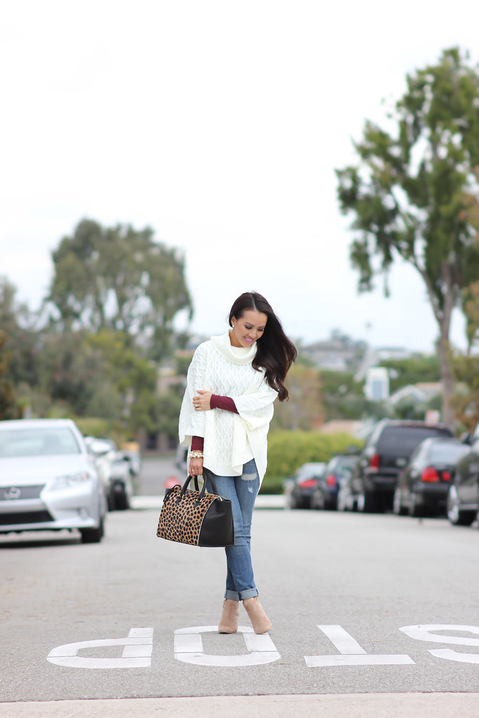 Forever 21 Cable Knit Poncho and Clare V Sandrine Satchel-6