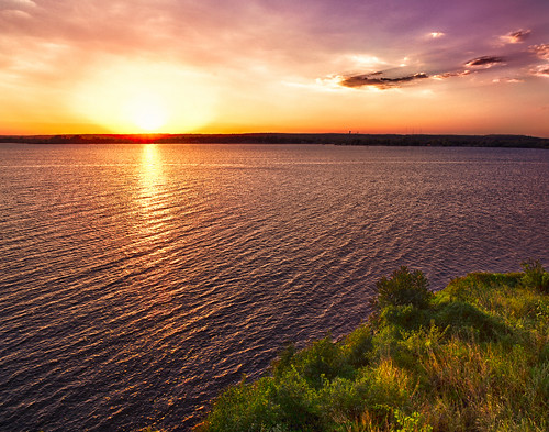 sunset oklahoma water unitedstates grove grandlake groveoklahoma