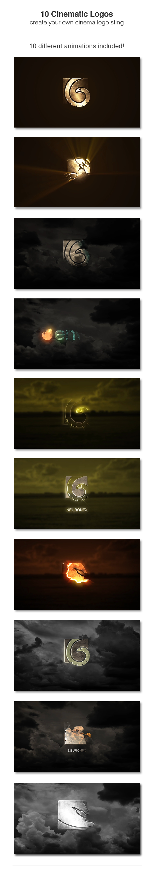 10个电影级logo演绎AE模板 10 Cinematic Logos