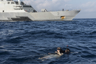 Rescue swimmers conduct training.