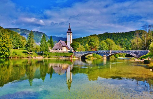 bridge lake mountains alps reflection clouds landscape stjohn slovenia julianalps d90 stjohnthebaptist lakebohinj stevelamb 2014slovenia