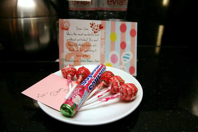 Birthday sweets and a sweet note