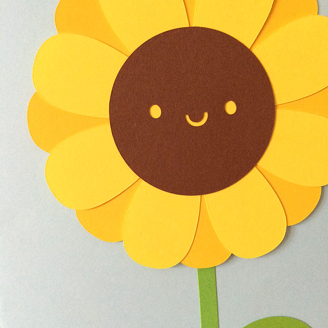 Sunflower paper cut close-up