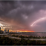 Anvil crawler lightning stretching out over south Perth at sunrise during the 29th January 2015 storm. www.cloudtogroundimages.com