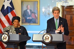 U.S. Secretary of State John Kerry and Liberian President Ellen Johnson Sirleaf address reporters in a joint news conference following their meeting at the U.S. Department of State in Washington, D.C., on February 27, 2015. [State Department photo/ Public Domain]