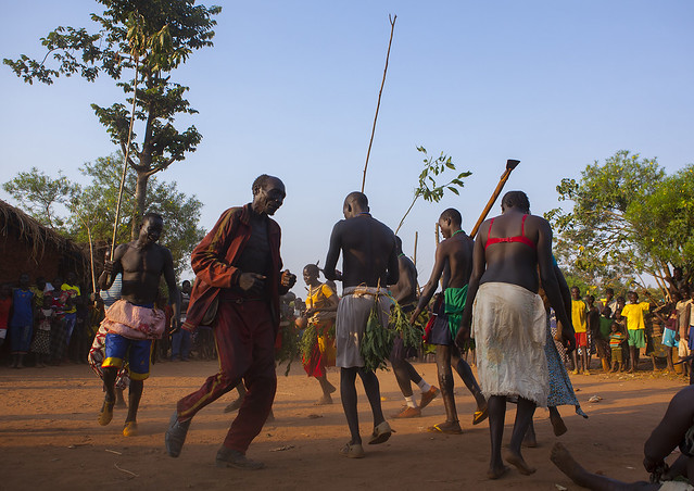 Majang Tribe Dancing For A Celebration, Kobown, Ethiopia