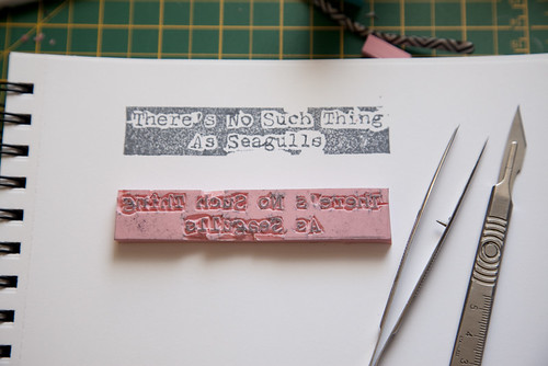 There's No Such Thing As Seagulls, Text Stamp In Progress
