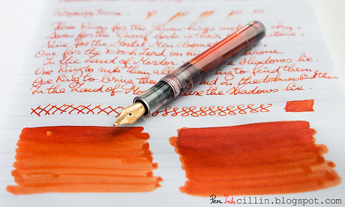 Diamine Pumpkin shading with Kaweco