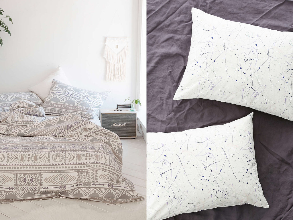 aztec print bedding and splatter paint pillow cases from urban outfitters