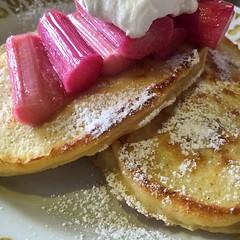 Ricotta Hotcakes, Rhubarb, Creme Fraiche #brunch #allweekend