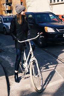 Black leather cyclist