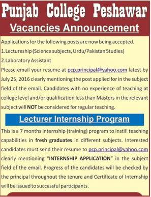 Punjab College Peshawar Jobs