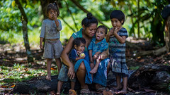 Samoan mother and her kids from Faleasiu Village.