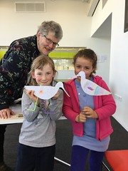 Jenny with two girls and their paper godwits