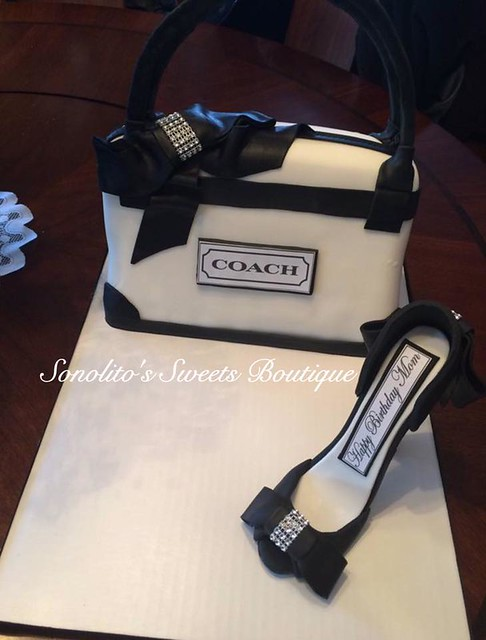 Coach Bag and Matching Stiletto Cake by Sonolito Bronson of Sonolito's Sweets Boutique