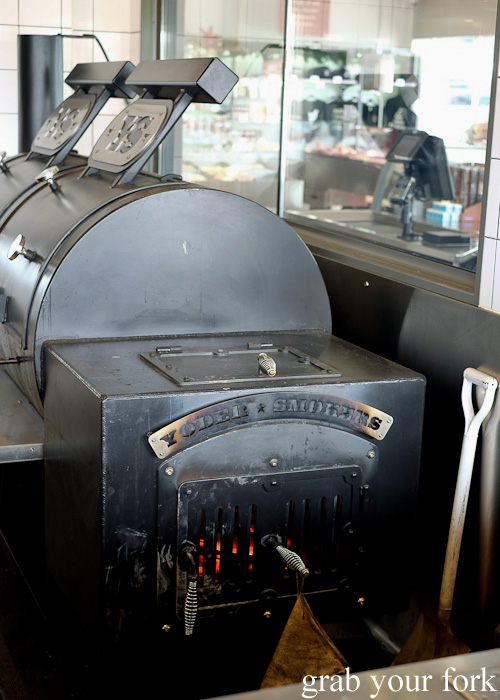 Kong the Yoder smoker at Vic's Meat Market at Sydney Fish Market, Pyrmont