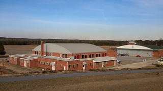 The hangars at Tuskegee Airfield's Moton Field