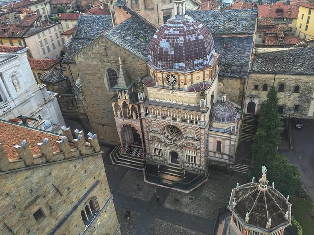 Piazza del Duomo de Bérgamo desde la Torre Cívica o Campanone