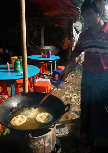 Frying Pastries At the Weekly Market in the Village at the End of Inle Lake (Myanmar)