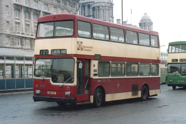 Carrying Liverpool Corporation Tramways Livery , MPTE 4050 HWM50P stands at Liverpool's Pier Head waiting to operate a service to Cantril Farm