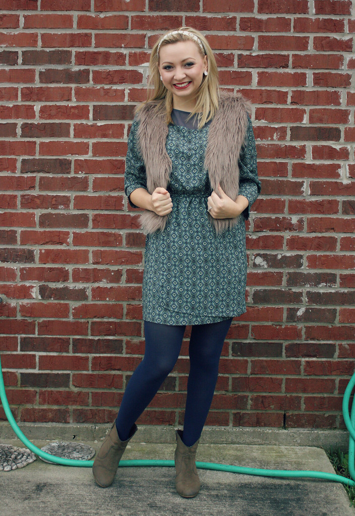 fur vest + printed dress