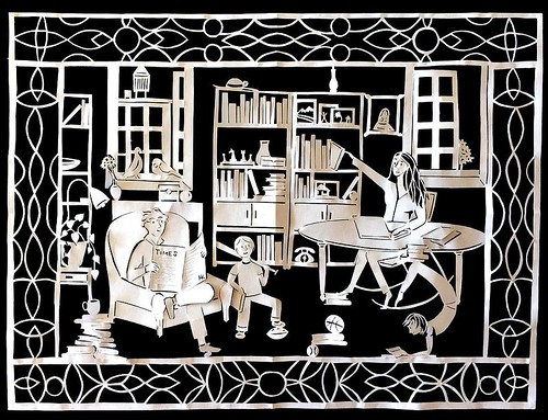 Books and Berkowitz Paper Cutting by Hannah Kohl