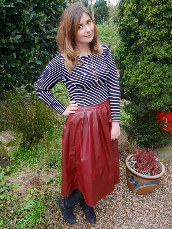 The Faux Leather Skirt fashion blogger outfit post missguided