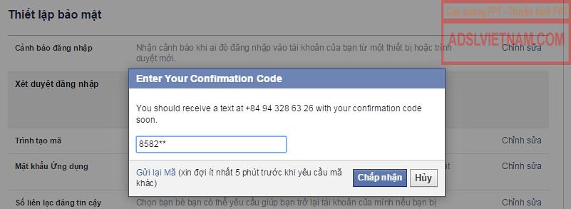 Nhập mã xác nhận gửi qua tin nhắn