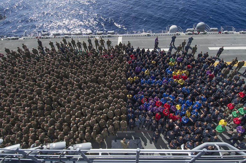 USS Essex holds an all-hands call.