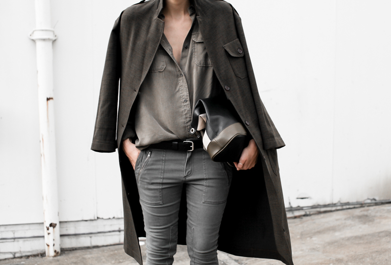 MODERN LEGACY fashion blog street style Witchery khaki trend military coat jacket trio clutch details  (1 of 1)
