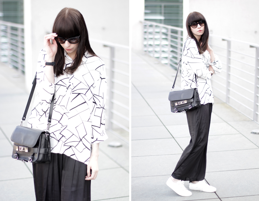ax paris geometric blouse shirt black white pattern wide pants clean sporty scandinavian look fashionblogger germany ricarda schernus cats & dogs proenza schouler gant sneakers prada sunglasses 8