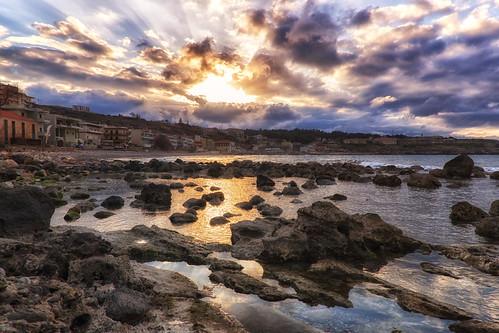 sunset sea sky reflection beach clouds rocks crete rethymno κρήτη σύννεφα θάλασσα δύση βράχια αντανάκλαση ρέθυμνο ουρανόσ
