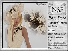 NSP Rose Deco Formal Dress with Hat - Cream