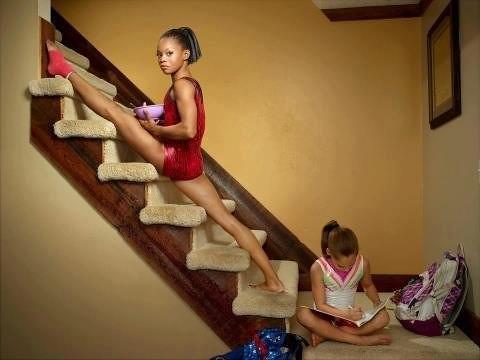 Gabby Douglas on stairs