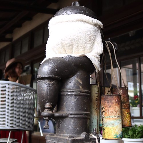 こちらはなんとも味のある古い井戸ポンプ。もう水は出ないようです。
