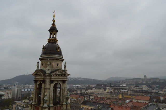 this is a picture of the view from St Stephen's Basilica viewing platform in Budapest