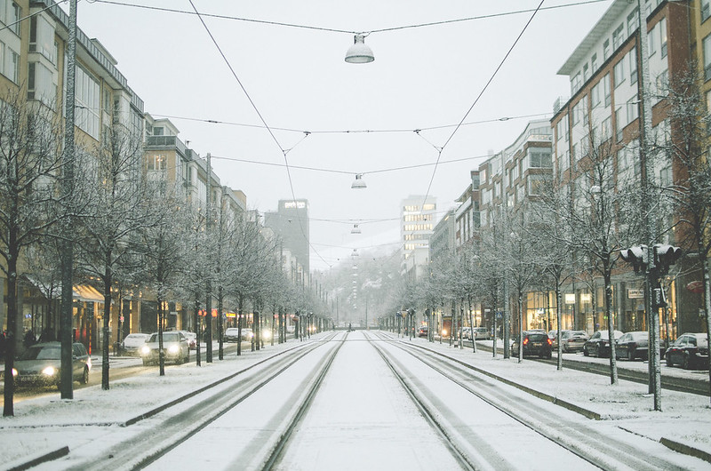 The first snow in Stockholm