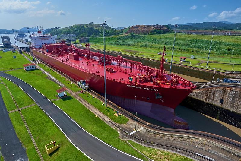 Ship at the Miraflores Lookout Panama Canal - Panama