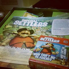 Deck building time... I'm working on the barbarians and @sarterus has the Japanese! #imperialsettlers  #portalgames