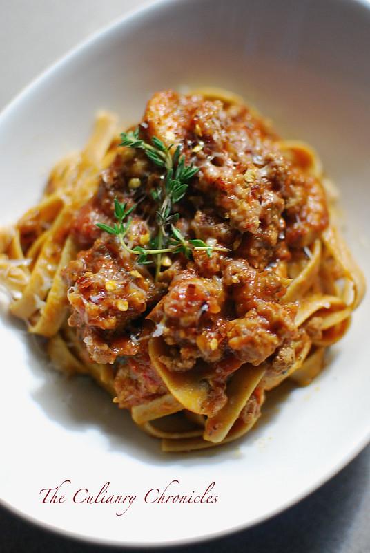 20-Minute Spicy Sausage & Mushroom Pasta