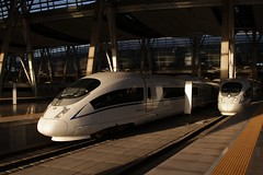 CRH380B high-speed trains at Beijing South station