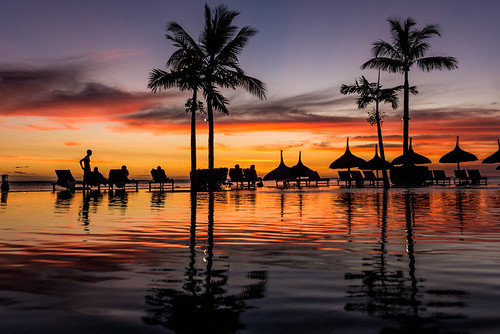 light sunset red sky cloud sun holiday reflection beach water silhouette set nikon paradise colours low ripples colourful nikkor mauritius 2470mm d610 greatphotographers