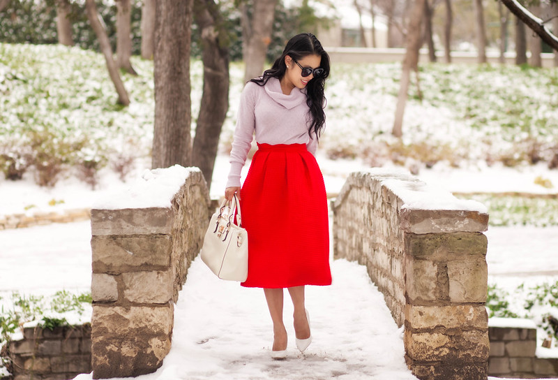 cute & little blog   petite fashion   pink cowl sweater, sheinside red paid midi, white pumps, white bag   winter outfit
