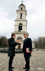 With the Metropolitan Cathedral of Chisinau in the background, Deputy Secretary of State Antony 'Tony' Blinken admires the local architecture during a tour of the Moldovan capital on March 3, 2015. [State Department photo/ Public Domain]