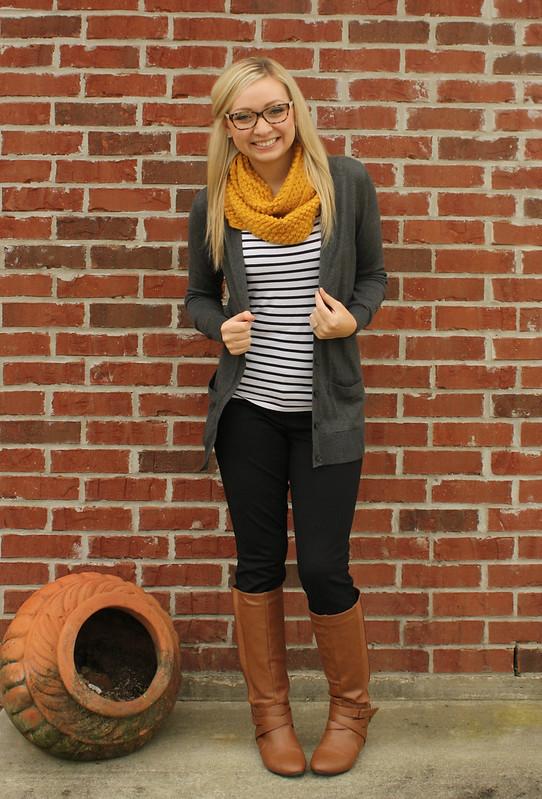 mustard scarf + stripes